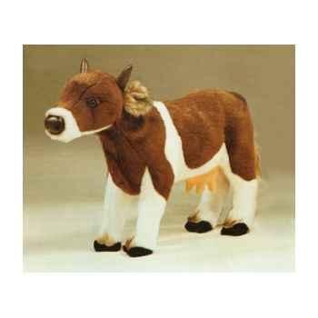Peluche debout vache marron et blanche 60 cm Piutre -2668