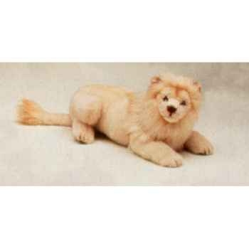 Peluche allongée lion blanc 50 cm Piutre -2524