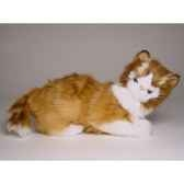 peluche allongee chat maine coon 30 cm piutre 2382