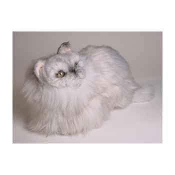Peluche accroupie chat persan argenté 30 cm Piutre -2425