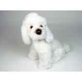 peluche assise poodle blanc 35 cm piutre 281