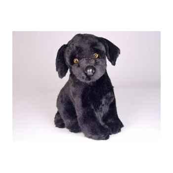 Peluche assise labrador retrevier noir 35 cm Piutre -3339