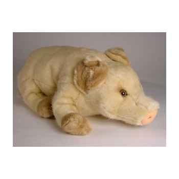 Peluche allongée bébé cochon beige 45 cm Piutre -2419