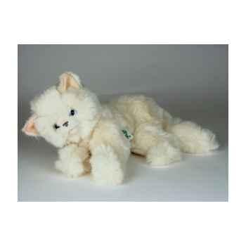 Peluche couchée chat beige 35 cm Piutre -2440