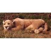 peluche allongee lionne 140 cm piutre 2502