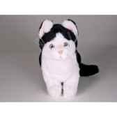 peluche assise chat noir blanc 25 cm piutre 2345
