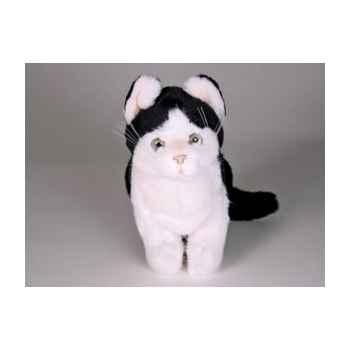 Peluche assise chat noir/blanc 25 cm Piutre -2345