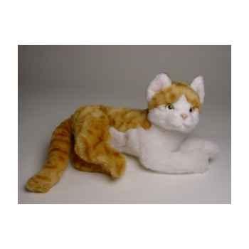 Peluche allongée chat roux et blanc 30 cm Piutre -2340