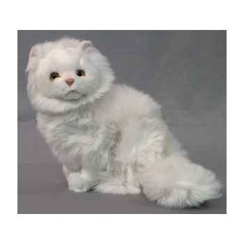 Peluche assise chat persan blanc 35 cm Piutre -314