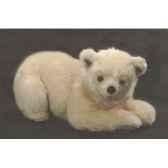 peluche allongee ours polaire 50 cm piutre 2163