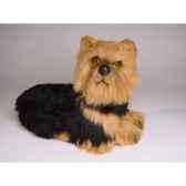 peluche allongee yorkshire terrier 35 cm piutre 3299