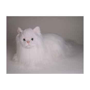 Peluche allongée chat angora blanc 45 cm Piutre -2333