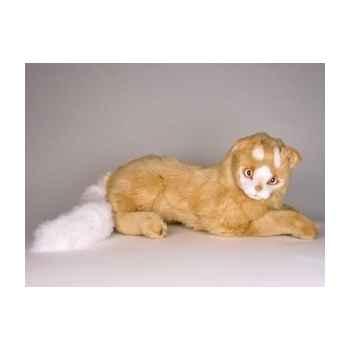 Peluche allongée chat Turc de Van marron 45 cm Piutre -327