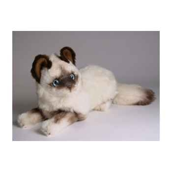 Peluche allongée chat birman 30 cm Piutre -2314