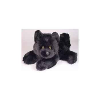 Peluche allongée chiot chow chow noir 40 cm Piutre -2612