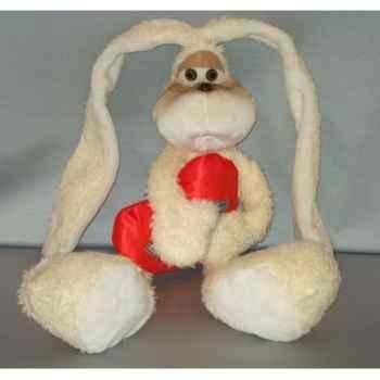 Peluche lapin beige avec un coeur 60 cm Piutre -G054