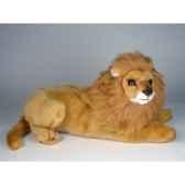peluche allongee lion 50 cm piutre 2508