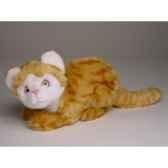 peluche accroupie chat roux et blanc 23 cm piutre 2341