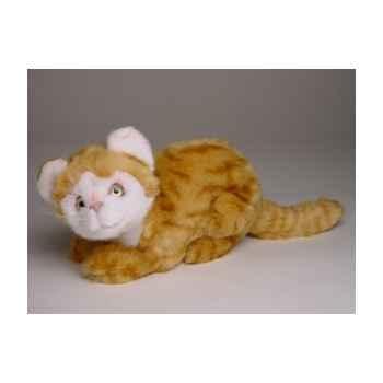 Peluche accroupie chat roux et blanc 23 cm Piutre -2341