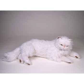 Peluche allongée chat persan blanc 50 cm Piutre -2393