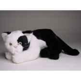 peluche allongee chat noir et blanc 25 cm piutre 2344