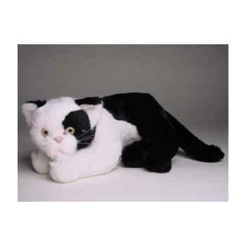 Peluche allongée chat noir et blanc 25 cm Piutre -2344