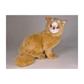 Peluche assise chat Turc de Van marron 35 cm Piutre -328