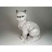 peluche assise chat british poils courts 45 cm piutre 2460