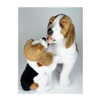 Peluche assise beagle avec chiot 50+30 cm Piutre -2241
