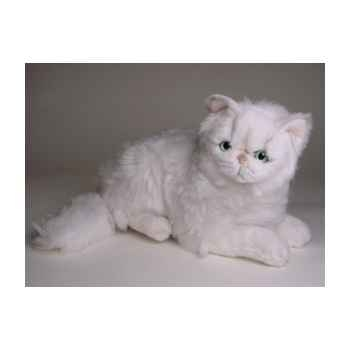 Peluche allongée chat persan chinchilla blanc 50 cm Piutre -2301