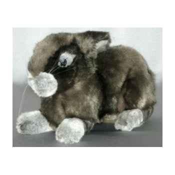 Peluche allongée lapin gris 40 cm Piutre -721