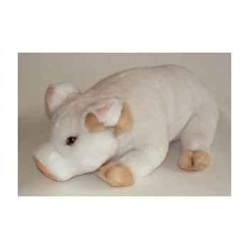 Peluche allongée porcelet blanc 45 cm Piutre -2420