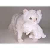 peluche debout chat persan blanc 60 cm avec chaton piutre 2385
