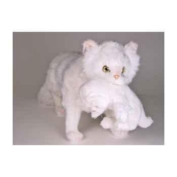 Peluche debout chat persan blanc 60 cm avec chaton Piutre -2385