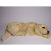 peluche allongee golden retriever 85 cm piutre 2202
