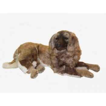 Peluche allongée chien leonberg 100 cm Piutre -3362