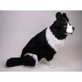 peluche assise border collie 85 cm piutre 1215