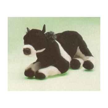 Peluche allongée vache noire et blanche 55 cm Piutre -2687