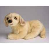 peluche allongee mascotte golden retriever 20 cm piutre 4248