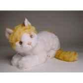 peluche allongee chat blanc et roux 30 cm piutre 2339