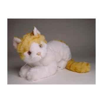 Peluche allongée chat blanc et roux 30 cm Piutre -2339