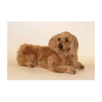 Peluche allongée teckel dachshund, poils longs 60 cm Piutre -2253