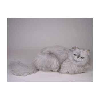 Peluche allongée chat persan argenté 50 cm Piutre -2423