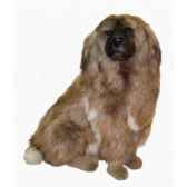 peluche assise chien leonberg 90 cm piutre 3361