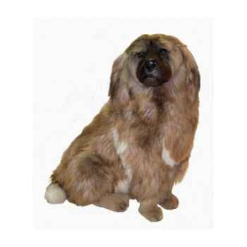 Peluche assise chien leonberg 90 cm Piutre -3361
