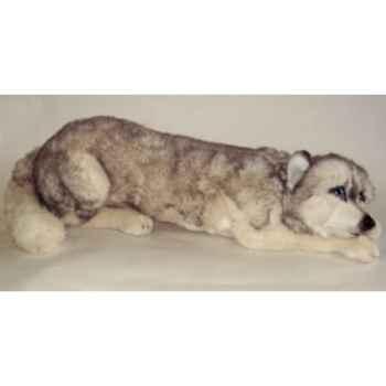 Peluche allongée Husky de Sibérie 70 cm Piutre -3329