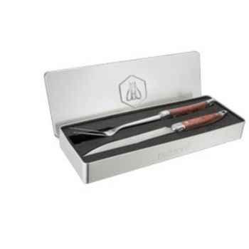 Set barbecue 2 piÈces manche bois fourchette + couteau Laguiole -3326880005698