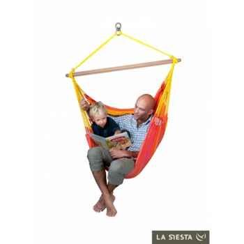 Chaise-hamac basic colombienne sonrisa mandarine (résistante aux intempéries) La Siesta -SNC14-5
