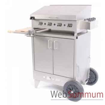 Kitchen inox 3 feux s/meuble inox avec couvercle Le Marquier -BAP4305I