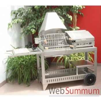 Meharin alde inox s chariot plancha avec couvercle le for Chariot cuisine exterieure